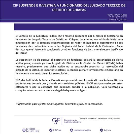 SUSPENDIDO POR CANCELAR ORDEN DE CAPTURA CONTRA ANCIRA