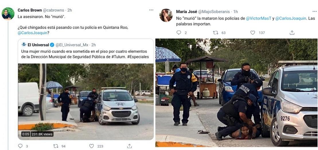 ERUPCIÓN DE REPUDIO A MORTAL BRUTALIDAD POLICÍACA CONTRA MUJER, EN QUINTANA ROO
