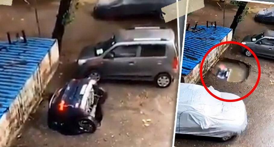 ASÍ SE TRAGÓ SOCAVÓN UN AUTOMOVIL, EN LA INDIA: VIDEO VIRAL
